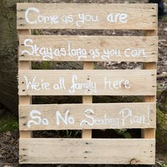 A polite notice to the guests at the first wedding in the bluebell woods at Jimmy's Farm, Suffolk. www.headoverheelsphotography.co.uk