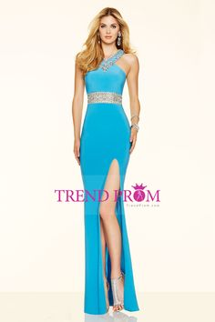 2016 Floor Length Open Back Prom Dresses Sheath Spandex With Beading