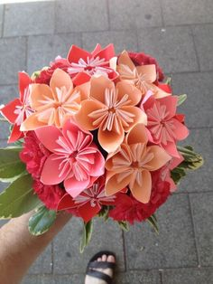 My Wedding origami bouquet.....I want Donald to make me one of these. So sweet and very personal.