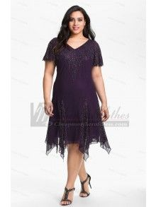 Plus Size Purple Knee-Length cheap Fashion Mother Of The Bride Dress cms-152