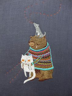 ♒ Enchanting Embroidery ♒ embroidered bear & cat by cat rabbit on flickr
