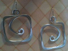 Aluminum Wire Jewelry Earrings Square Hoops Lightweight Non Tarnish Silver or Multicolor. $15.00, via Etsy.