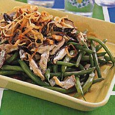 Green Beans with Mushroom-Madeira Sauce Recipe Side Dishes with butter, shitake mushroom, oyster mushrooms, dried thyme, shallots, Madeira, whipping cream, fresh green bean, vegetable oil, leeks