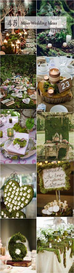 rustic moss wedding ideas / http://www.deerpearlflowers.com/moss-decor-ideas-for-a-nature-wedding/3/