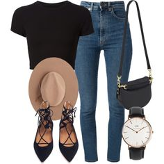 A fashion look from March 2016 featuring crop t shirt, high waisted jeans and flat shoes. Browse and shop related looks. Cute Casual Outfits, Chic Outfits, Spring Outfits, Fashion Outfits, Womens Fashion, Fashion Trends, 70s Fashion, French Fashion, Fashion Tips