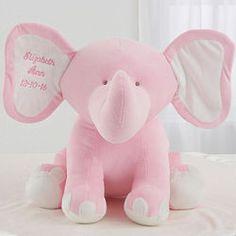Pink Embroidered Jumbo Plush Baby Elephant