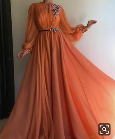 Long Sleeve Prom Dresses A-line Hand-Made Flower Chiffon Prom Dress Long Evening Dress – Hijab Fashion Orange Prom Dresses, Prom Dresses Long With Sleeves, Tulle Prom Dress, Ball Gown Dresses, Formal Dresses, Dress Long, Party Dress, Hijab Prom Dress, Sleeved Prom Dress