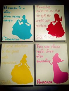 Disney Princess Vinyl Pictures - Silhouette Cameo this is a lot like what I was thinking Silhouette Cameo, Silhouette Projects, Black Silhouette, Disney Diy, Disney Crafts, Vinyl Crafts, Vinyl Projects, Disney Princess Bedroom, Princess Bedrooms