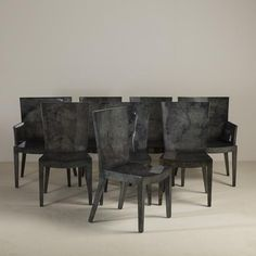 Talisman A Set of Eight Grey Lacquered Goatskin Chairs 1980s -