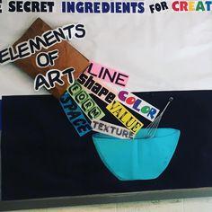 """The secret ingredients for creating great ART!"" #artroomdecor #artboard #elementaryart #elementsofart #artroom #artteacher #artteachersofinstagram #artteacherstyle"
