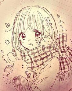 手绘 线稿 少女 原稿 铅笔画