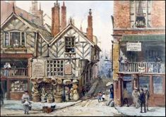 "Louise Ingram Rayner (English, 1832-1924) Pencil & Watercolour ~ ""Inns and Shops: Bridge Street / Commonhall Street"""