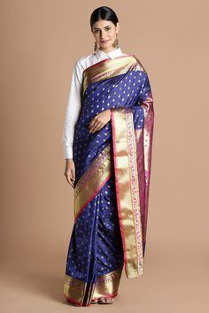 f694e6e430 Buy Craftsvilla Blue Color Traditional Peshwai Silk Saree With Butta Work  And Unstitched Blouse Material online