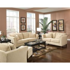 Give your living room an upgrade with the subtle sophistication of this 2-piece set. The Park Ave 2-piece living room set features a sofa and a loveseat durably constructed from solid hardwood.