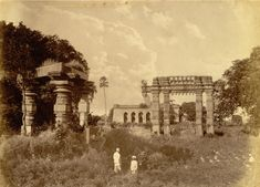 Photograph of the gateway and temple ruins at Warangal in Andhra Pradesh, from the Lee-Warner Collection: 'Bombay Presidency. William Lee Warner C.S.', taken by an unkown photographer in the 1870s.