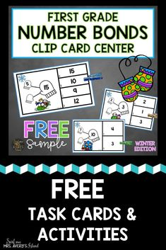 Grab these FREE differentiated math task cards if you are teaching number bonds to your first grade students! These activities will provide your students an alternative to traditional worksheets to give them practice with finding the missing addend in a fun way! Click here to grab this FREE sample from my First Grade Clip Cards Math and ELA Bundle! #firstgrade #math #numberbonds #addition #mathcenters #taskcards #clipcards