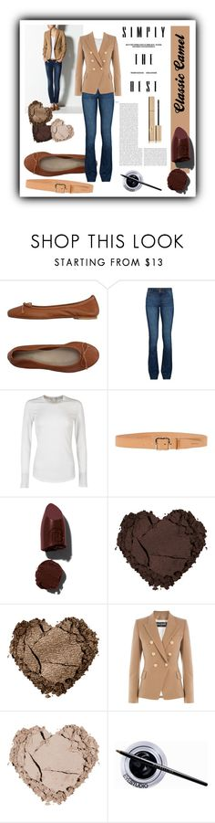 """""""Classic Camel"""" by dance-of-joy ❤ liked on Polyvore featuring DIENNEG, DL1961 Premium Denim, James Perse, Dsquared2, Lipstick Queen, Balmain, Maybelline, Stila, women's clothing and women"""
