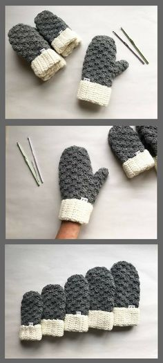 Love the variation of pattern in this crochet mitten pattern! Looks super warm and cozy. #crochetpattern #affiliate #cozy #crochetmittens