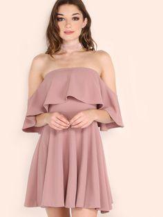 Pink Off The Shoulder Skater Dress