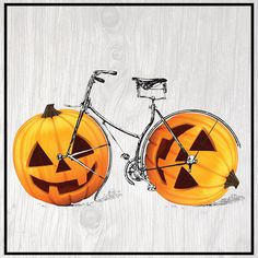 """East Urban Home Pumpkin Bicycle Graphic Art on Wrapped Canvas Size: 12"""" H x 12"""" W x 1.5"""" D"""