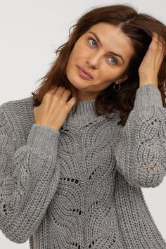 Cable-knit sweater with ribbing at neckline, cuffs, and hem. Cardigan, Grey Sweater, Cable Knit Sweaters, Cashmere Sweaters, Lace Knitting Patterns, Crochet Fashion, Crochet Clothes, Neue Trends, Sweaters For Women
