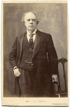 """Cabinet photograph of John Lawrence Toole, by Alfred Ellis, c.1895.  J.L.Toole created the role of """"Thespis"""" in Thespis."""