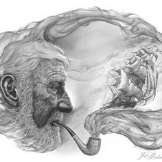 From the burning embers of Jake's imagination, he has brought this piece to life through swirling tones of charcoal and graphite. With a reminiscent gaze upon his weathered face, a sailor smokes his pipe recalling his adventures at sea. The illusory transition of smoke to sea to man begs the question of the viewer: Which is real and which is the apparitio