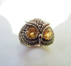Sterling Silver Owl Ring With Citrine Eyes by westernmountain, $25.00