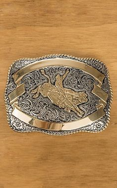 5c5faebb6f7 Crumrine Gold and Silver Bull Rider Rectangle Antique Buckle. BouclesBoucles  De Ceinture WesternCeintures ...