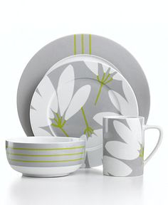 echo design dinnerware fan floral 4 piece place setting casual dinnerware dining u0026