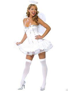 Déguisement Ange-Robe bustier élément de costume blanc ange ailé