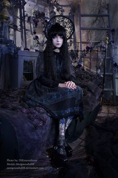 Amazing Gothic Lolita in a gothic bedroom (a bit far-fetched but oh well haha)