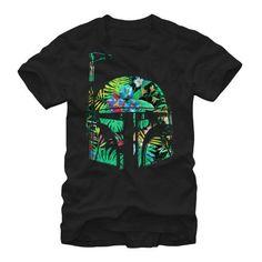 Star Wars Hawaiian Print Boba Fett Helmet Mens Graphic T Shirt, Men's, Size: XXXXX-Large, Black