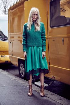 Skirt: lace skirt, green skirt, green, emerald green, green sweater, knitted sweater, snake shoes, ankle boots, midi skirt - Wheretoget
