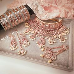 In all her Glory 😍Pretty Rose gold jewels for Priti 💕 To order your bridal jewels with us send us a dm or WhatsApp Shop ready… Pakistani Bridal Jewelry, Indian Bridal Jewelry Sets, Indian Jewelry Earrings, Bridal Bangles, Jewelry Design Earrings, Jewellry Box, Bling Jewelry, Jewlery, Antique Jewellery Designs