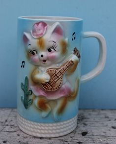 Sweet Little Vintage Cat  Playing Banjo Cup