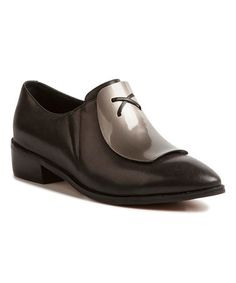 Another great find on #zulily! Black Contrast Plate Leather Loafer #zulilyfinds