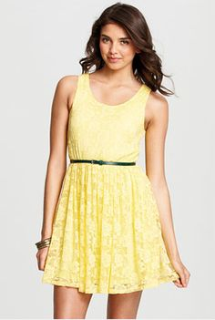 Neon yellow lace dress
