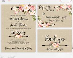 Boda rústica invitación imprimible invitaciones boda Floral