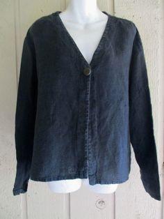 new J.Jill 1 button black linen jacket L #JJill #funkylinen