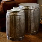 Set of 2 Natural Steel Fluted Round Barrels (India) - Overstock™ Shopping - Top Rated Coffee, Sofa & End Tables Sofa End Tables, End Table Sets, Side Tables, Coffee Tables, Unique End Tables, Primitive Tables, Coffee Table Furniture, Deck Furniture, Office Furniture
