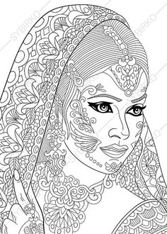 Indian Woman Coloring Page. Adult coloring by ColoringPageExpress