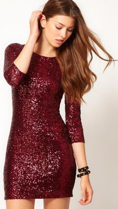 Sequins, mini, long sleeves—this triple threat of a dress is one we're dying to get our hands on. TFNC Sequin Dress with Long Sleeves, $96.75, asos.com.
