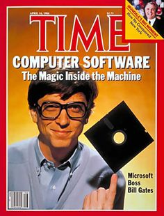 Bill Gates balancing a ridiculously small disc on his finger, 360 kilobytes! Who would ever need so much storage space.