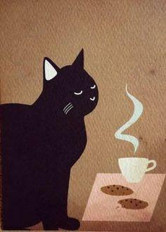 LAURA BERTINELLI. Black cat loves coffee.