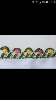 This Pin was discovered by Güz Kare Kare, Crochet Decoration, Elsa, Diy And Crafts, Crochet Appliques, Dish Towels, Border Tiles, Embroidery, Lace