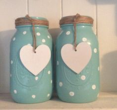 Polka dot and hearts painted Mason jar                                                                                                                                                                                 More