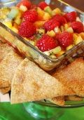For a healthy March Madness snack, try this delicious fruit salsa recipe with crispy cinnamon chips. This delicious fruit salsa can be served as an appetizer, snack or healthy dessert.