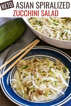 This easy Asian spiralized zucchini noodle salad is the perfect summer side! Simply mix, chill, and enjoy this refreshing low carb vegetable dish. This Asian inspired spiralized zucchini salad is a perfect side to whip up on a hot summer day! It's super refreshing, and all you have to do is mix the ingredients and let it chill. Asian Noodle Recipes, Asian Chicken Recipes, Asian Dinner Recipes, Easy Asian Recipes, Ethnic Recipes, Salad Recipes Low Carb, Veggie Recipes, Healthy Recipes, Healthy Food