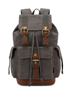 f8da88d842 Vintage Backpacks Canvas Rucksack Large Capacity for Outdoorhiking Grey --  Learn more by visiting the